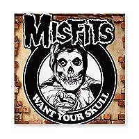 Misfits Skull 木製 額縁 フォトフレーム 壁掛け 木製 横縦兼用 絵を含む 40×40cm