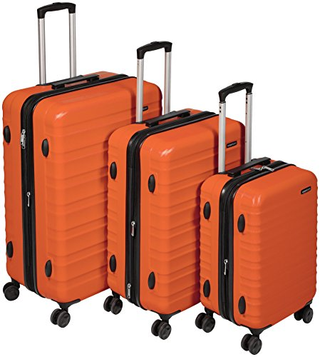 AmazonBasics Hardside Spinner, Carry-On, Expandable Suitcase Luggage with Wheels, Orange - 3-Piece Set