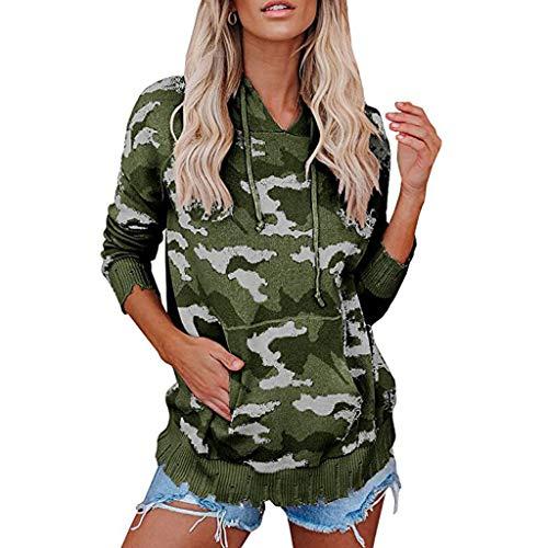 Vimoli Damen-Tarnmuster Sweatshirts Herbst Damen Camouflage Printing Pocket Hoodie Bluse mit Kapuze Pullover Tops Lässiger Sportpullover Herbst langes T-Shirt(A Grün,S)