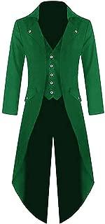 PASLTER Men's Halloween Steampunk Jacket Victorian Gothic Tailcoat Vintage Costume Tuxedo Frock Coat Uniform VTG