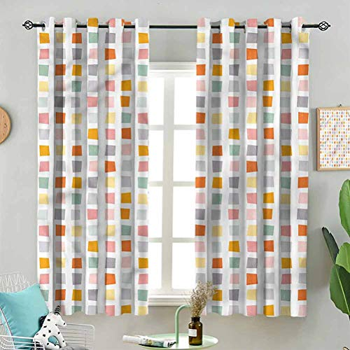 Dasnh Window Treatment Curtains Hipster Soft Squares W72 x L84 Inch (2 Panels) Grommet Top for Bedroom
