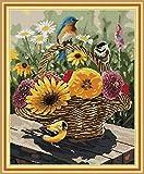 Kit de punto de cruz para adultos-DIY Cross Stitch estampado costura patrón de bordado Imágenes regalo-11CT Lienzo preimpreso- Pájaros y cestas de flores (2)