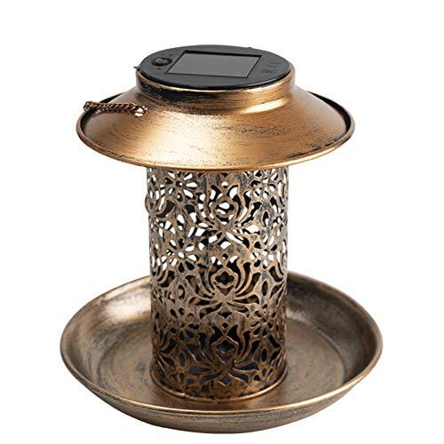Comedero para Pájaros Bandeja de metal de bronce colgante salvaje Linterna solar Energía solar Alimentador de pájaro Aparato de agua a prueba de agua para al aire libre Jardín Decoración de árbol