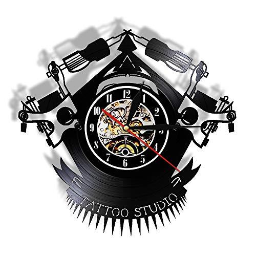 LKJHGU Reloj de Vinilo de Tatuaje Vintage Reloj de Pared de Vinilo Tu Imagen de diseño Tienda de Tatuajes Reloj de Vinilo Personalizado