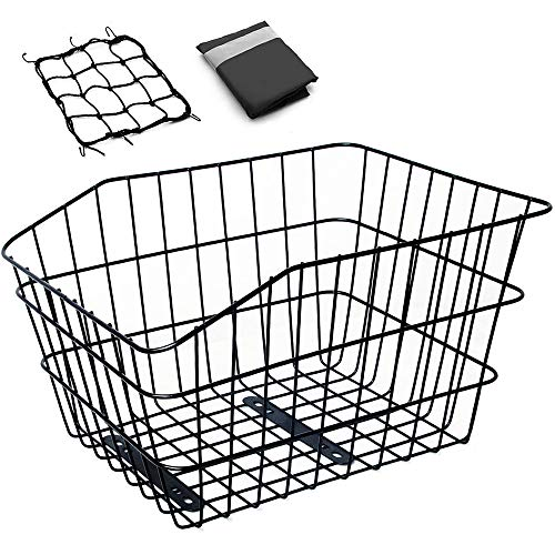 Hoobbii Large Rear Bike Basket, Waterproof Metal Wire Bicycle Basket with Adjustable Cargo Net and Waterproof Bike Basket Liner, Suitable for Most...