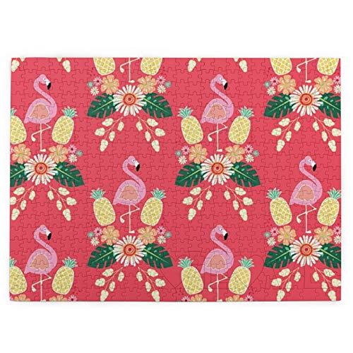 pengxuelinshop Rompecabezas de madera de 520 piezas, diseño de flamencos rosados de piñas para adultos y niños