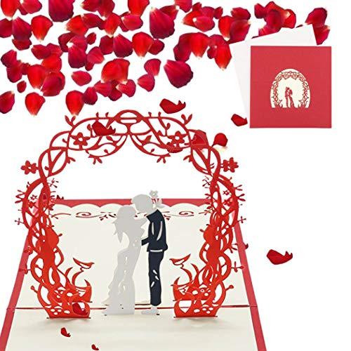 Sethexy 3D Romántico Invitación de boda Tarjetas de felicitación con sobres Cariño Hecho a mano Surgir Aniversario Regalo de bodas para esposa, esposo, amigos, familia
