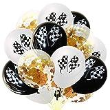 Toyvian 15 Piezas de Globos de Fiesta Bandera de Carreras en Blanco y Negro Sequin Globos de Confeti Globos inflables (5 Piezas de Blanco + 5 Piezas de Negro + 5 Piezas de Globos de Confeti Dorados)