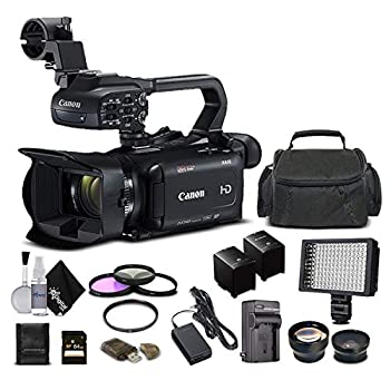 Canon XA11 Compact Full HD Camcorder 2218C002 with 64GB Memory Card Extra Battery and Charger UV Filter LED Light Case Telephoto Lens Wide Angle Lens and More - Advanced Bundle