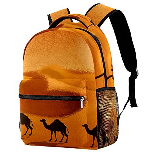 XiangHeFu Mochila ligera para mochila de viaje escolar para niñas y niños Cocón de camello del desierto Mochila estampada