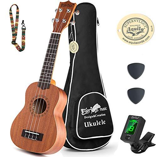 Learn to Play Ukulele Soprano Starter Kit - Satin Mahogany Professional Uke - 21 inch w/Case Strap Digital Tuner Aquila Strings