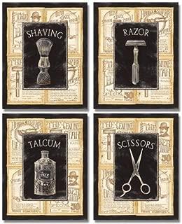 Gango Home Décor 4 Vintage Barber Shop Art Prints Shave Scissors 8 x 10