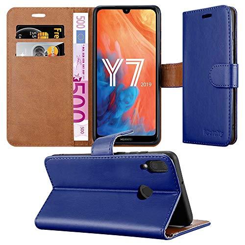 MAA Hülle für Huawei Y7 2019 Handyhülle Leder Magnetisch Flip Kartenhalter Wallet Stand View Schutzhülle für Huawei Y7 2019 (Blau)