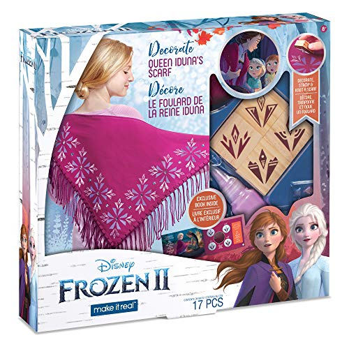 Make It Real – Disney Frozen 2 Queen Iduna's Scarf . DIY Arts and Crafts Kit Guides Kids to Create Queen Iduna's Scarf with Stamps, Fringed Fabric and Magical Frozen 2 Embellishments