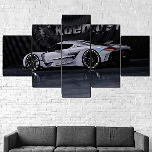 BHJIO 5 Piezas Cuadro sobre Lienzo Imagen Koenigse Jesko Absolut 2020 Car Impresión Pinturas Murales Decor Fotos para Salon Dormitorio Baño Comedor Regalo 80X150Cm