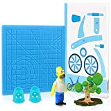 3D Printing Pen Silicone Design Mat with 2 Silicone Finger Caps, 3D Drawing Pen Basic Template Mat Tool with Stencils Book for Beginners and Children (Blue)
