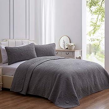 SEMECH King Quilt Set Bedspread Coverlet Lightweight Quilt Cover Set King Size Microfiber Warsaw Grey Quilt Coverlet Set 3 Piece Includes 1 Quilt and 2 Shams