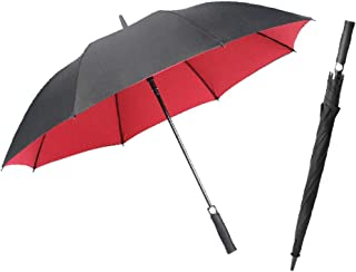 Light Sun Umbrella Double-Layer Reinforced Automatic Long Handle Straight Pole Umbrella Business Straight Handle Male Black Umbrella(One Pack) Portable (Color : Red)