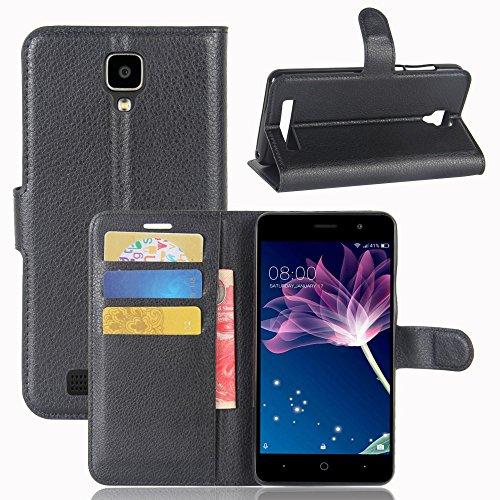 Doogee X10 Handyhülle Book Case Doogee X10 Hülle Klapphülle Tasche im Retro Wallet Design mit Praktischer Aufstellfunktion - Etui Schwarz