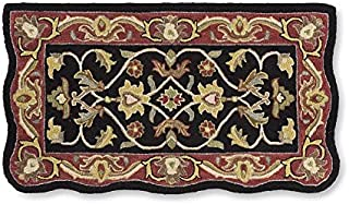 Rectangular Hand Tufted Fire Resistant Scalloped Wool Fireplace McLean Hearth Rug 25 W x 45 L Black/Red