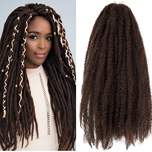 Marley Hair Ombre 4 Packs Afro Kinky Curly Crochet Hair 18 Inch Long Marley Twist Braiding Hair Kanekalon Synthetic Marley Braids Hair Extensions for Women(#M1B/30)