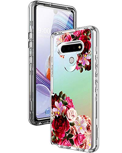 ACKETBOX LG Stylo 6 Case/Stylo 6 Phone Case, Heavy Duty Hybrid Impact Defender PC Back Case+Transparent Front Cover and TPU Full Body Protective Cover for LG Stylo 6 (6.8 inch) (Flower)