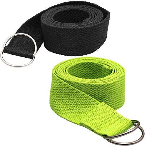 Tavie 2X Correa De Cinturón De Yoga para Ejercicio Físico Flexibilidad Ejercicio Estiramiento Correas De Pilates Correas, Poses De Sujeción, Fisioterapia, 183cm x 3.8cm Negro&Verde