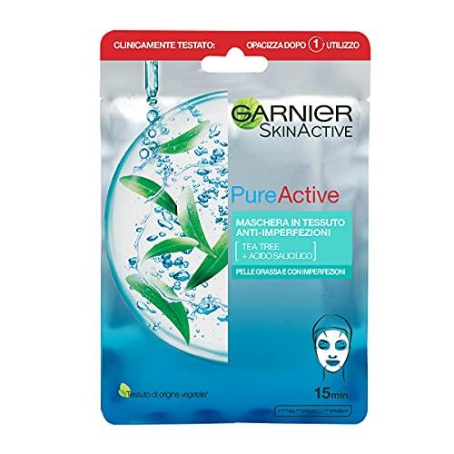 Garnier SkinActive, Maschera in tessuto anti-imperfezioni e idratante Pure Active, Per pelli grasse con imperfezioni
