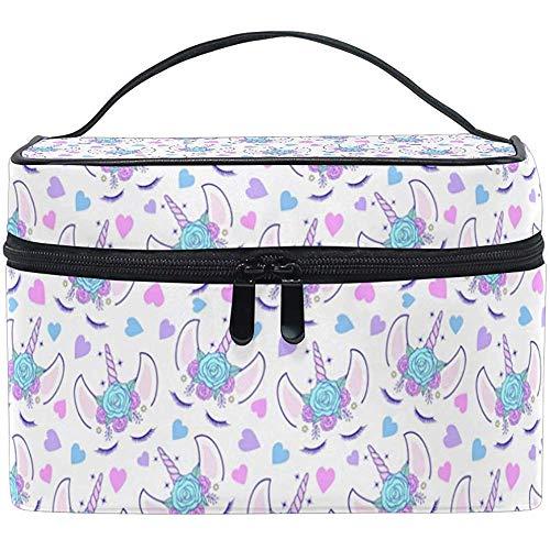 Maquillage Train Case Crème Licorne Tête Magique Rose Floral Diadème Transportant Portable Zip Cosmétique Sac Maquillage Sac