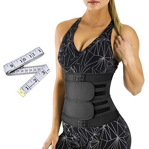 ProChosen Bauchweggürtel, Einstellbarer Neopren Fitnessgürtel Taillentrimmer Schweißgürtel Taillenformung Sportschutz Bauchweggürtel mit 1PCS Maßband für Frauen(Schwarz)