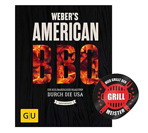 Collectix Weber's American BBQ: un viaggio culinario attraverso gli Stati Uniti (barbecue GU Weber's Grill) + adesivo per barbecue, libro di ricette per gli appassionati di barbecue