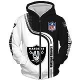 Unisex Suéter - Casual NFL Oakland Raiders Chaquetas 3D Pullover Jersey De Béisbol De Cremallera con Capucha Escudo De Manga Larga Otoño-Invierno - Los Adolescentes Regalo,Zip Hoodie,L