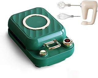 3 I 1 Waffle Sandwich Maker Elektrisk Visp 0-10 Min Timer Djupfyllning Fördubblar Äggpinnar (Color : Green)