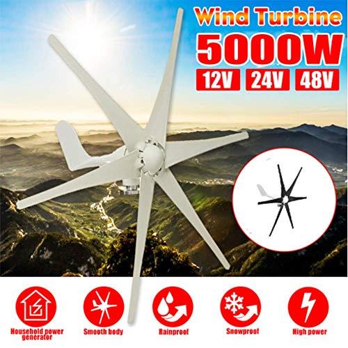 SISHUINIANHUA 5000W Windgenerator + Regler 12V / 24V / 48V 6 Blatt-Schwarz-Windkraftanlagen Horizontale Startseite Powers Windmühle Energieanlagen Lade,Schwarz,48v