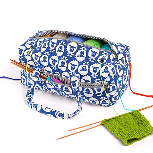LUXJA Knitting Bag, Yarn Bag for Yarn Skeins, Crochet Hooks, Knitting Needles (up to 14 Inches) and Other Accessories, Sheep