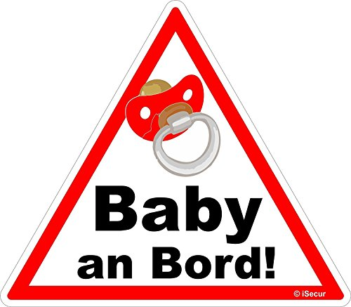 easydruck24de 1 Auto-Aufkleber Baby an Bord I kfz_223 I 16 x 14 cm groß I Mädchen Sticker mit Schnuller I Hinweis-Aufkleber Achtung Vorsicht dreieckig wetterfest