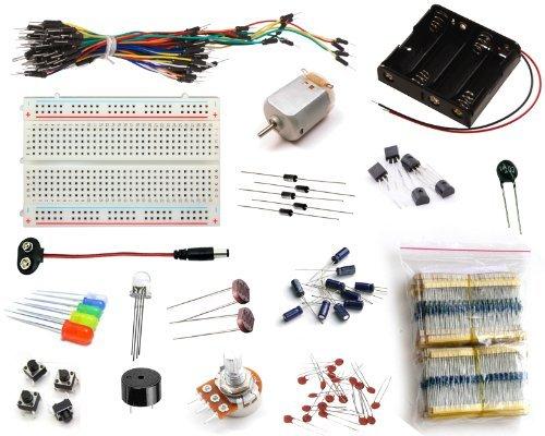 16Hertz Electronics Projekt-Starter-Set mit Steckplatine, Jumper-Kabel, LED, Widerstände, Motor für Arduino & Raspberry Pi
