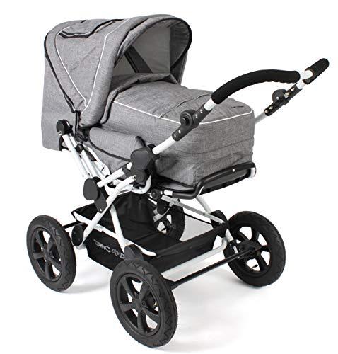 CHIC 4 BABY 100 60 Kombi-Kinderwagen Viva, inklusive Tragetasche, Jeans, melange, grau