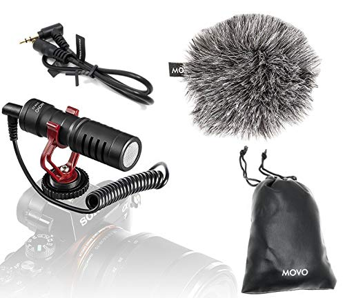 Movo VXR10 Universal Video Microphone with Shock Mount, Deadcat Windscreen, Case for iPhone, Android Smartphones, Canon EOS, Nikon DSLR Cameras and Camcorders - Perfect Camera Microphone, Shotgun Mic