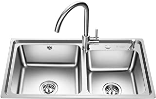 SOCUTWE 32x17.7 Inches Apron Front Farmhouse 60/40 Double Bowl 16 Gauge Stainless Steel Brushed Kitchen Sink Extra Thick D...