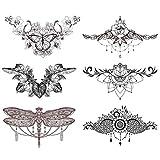 "glaryyears 6 Sheets Black Underboob Tattoo for Women, Flower Bird Dragonfly Butterfly Leaf Designs Temporary Tattoo Stickers on Chest Waist Waterproof Body Art 5.4''x9.45"""