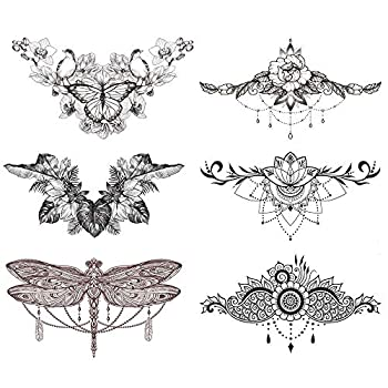 "glaryyears 6 Sheets Black Underboob Tattoo for Women Flower Bird Dragonfly Butterfly Leaf Designs Temporary Tattoo Stickers on Chest Waist Waterproof Body Art 5.4  x9.45"""