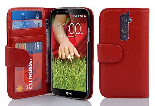 Cadorabo Hülle für LG G2 - Hülle in Inferno ROT – Handyhülle mit 3 Kartenfächern - Hülle Cover Schutzhülle Etui Tasche Book Klapp Style