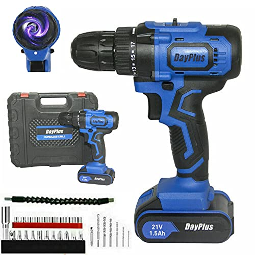 Electric Drill Cordless 21V Impact Hammer Drill Driver with 1x1500mAh Li-Ion Battery 29PCS Sets Screwdriver Bits Sockets Carrying Bag LED Light 45Nm Max Torque for Brick/Wood/Steel/Concrete
