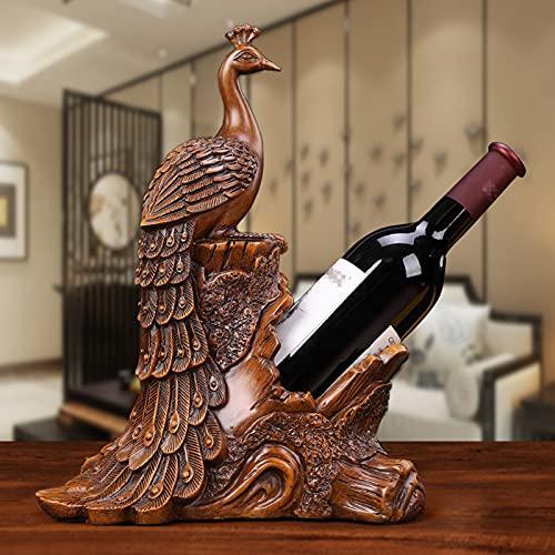 Yadlan Botellero Estante para Botellas de Vino de Resina, Creativo Pavo Real Figura Decoracion Adornos para el Hogar, Bar, Hotel, Accesorios del Gabinete del Vino