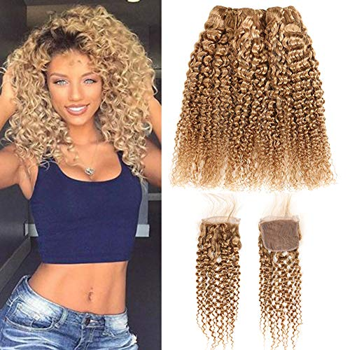 XCCOCO Hair Pre Colored 27# Brazilian Curly Human Hair Weave 3 Bundles with Free Part Closure Honey Blonde Deep Curly Hair Bundle 100% Human Hair Kinkys Curly Weft(14 16 18+12inch Closure)