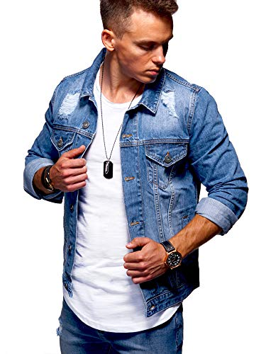 behype. Herren Jeans-Jacke Stretch Destroyed Übergangs-Jacke 55-0109 Mittelblau M