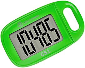 CS1 Easy Pedometer for Walking   Step Counter with Large Display and Lanyard (Green)