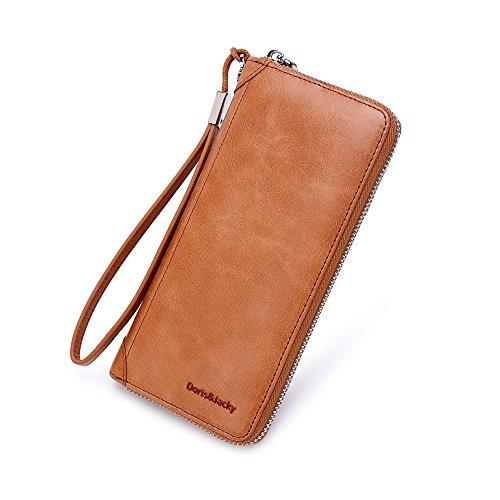 Women Leather Wallet Rfid Blocking Large Capacity Zipper Around Travel Wristlet Bags (Tan)