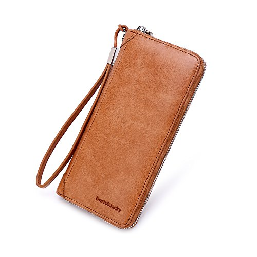 Women Leather Wallet Rfid Blocking Large Capacity Zipper Around Travel Wristlet Bags (Tan)